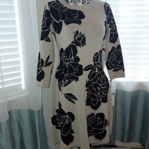 Black and taupe light knit dress size small